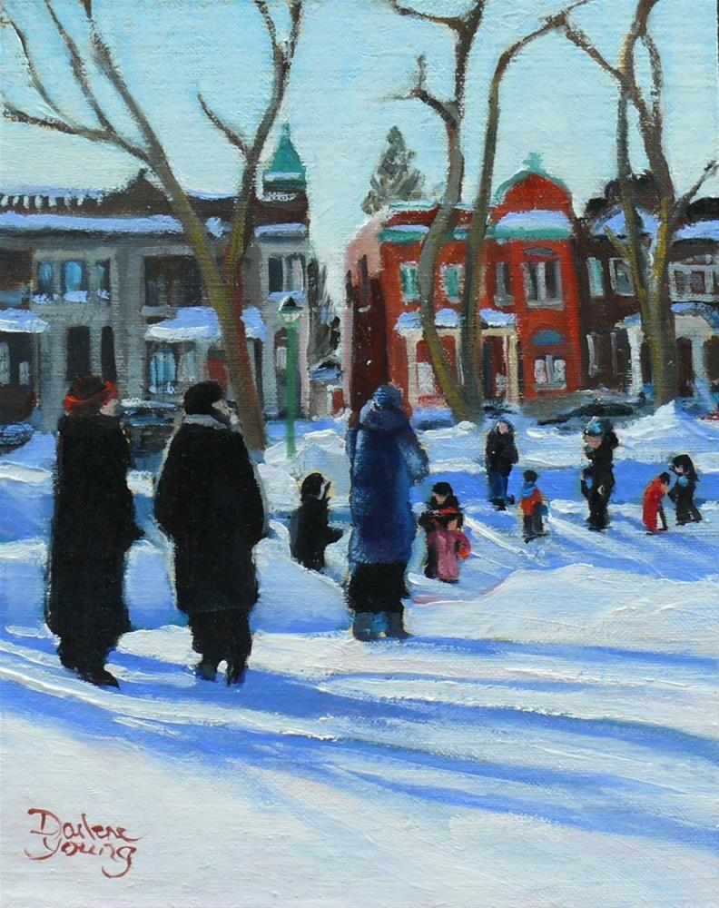 """696 Montreal Winter, Parc St-Viateur"" original fine art by Darlene Young"