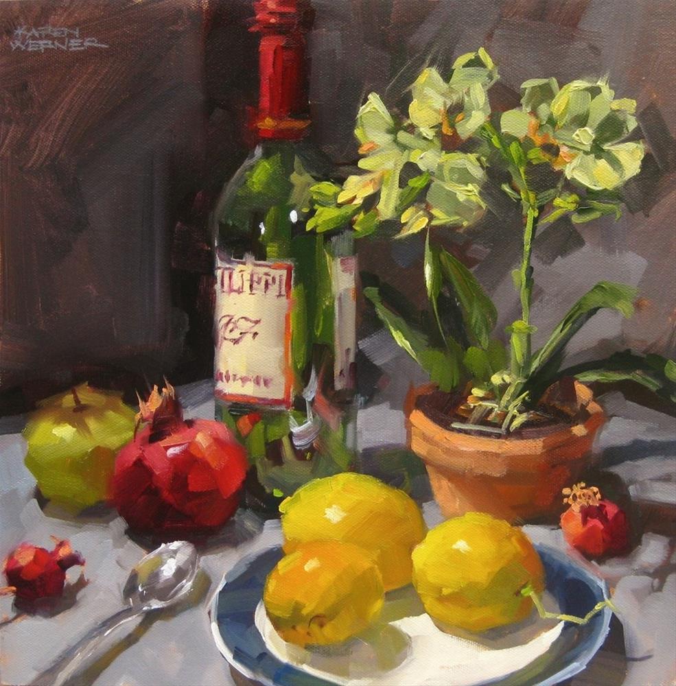 """""""Still Life With Lemons and Orchids"""" original fine art by Karen Werner"""