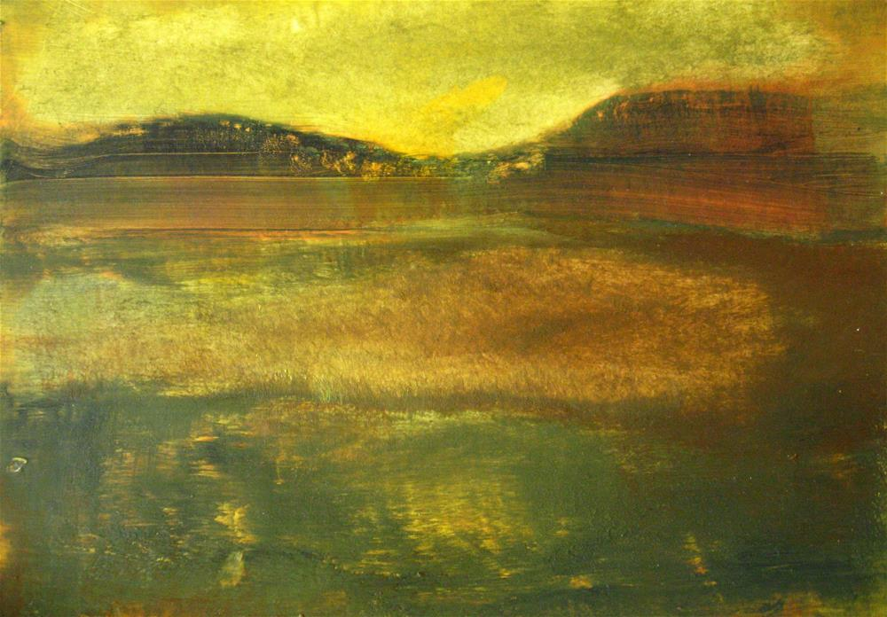"""Yellow Green Brown Abstract Landscape"" original fine art by Alina Frent"