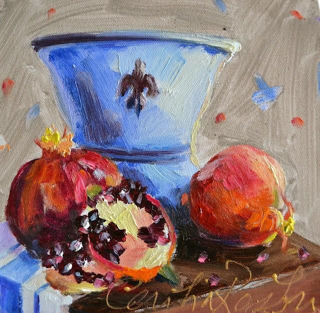 """POMEGRANATES"" original fine art by Cecilia Rosslee"
