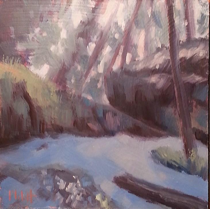 """Nature Walk Turkey Run State Park Evening Sun Oil Painting"" original fine art by Heidi Malott"