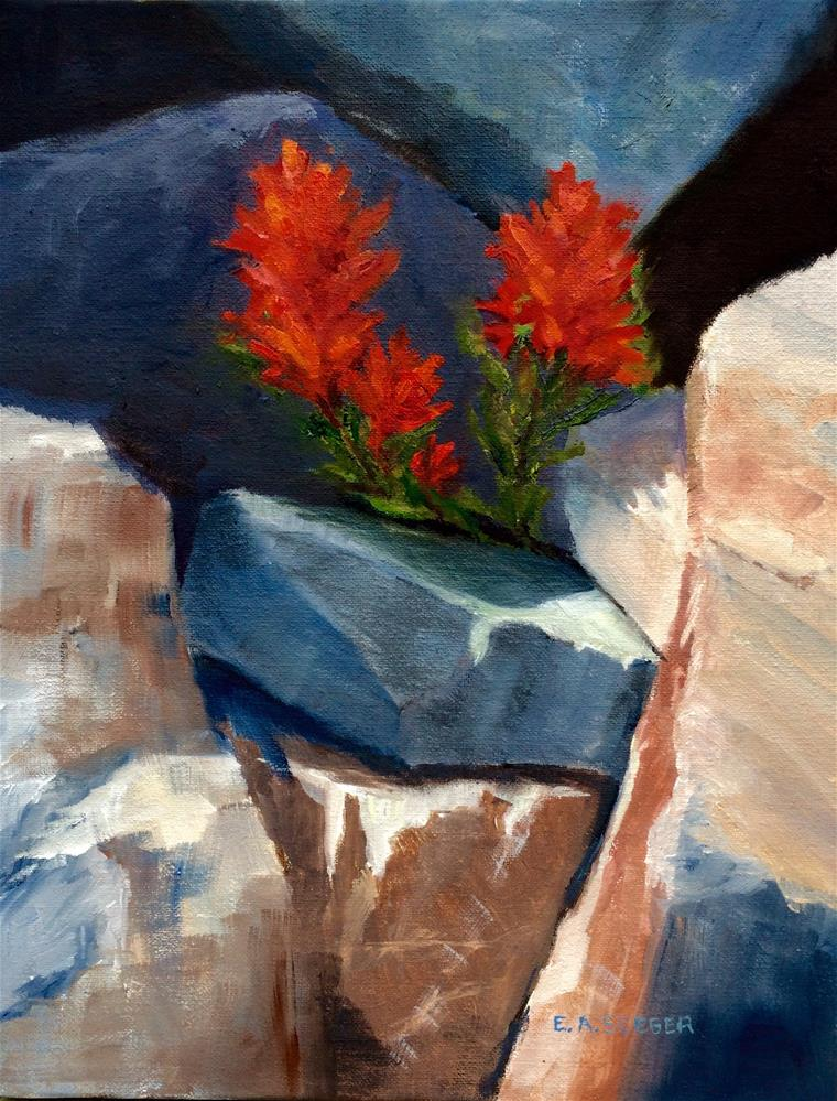 """Paintbrush in the Rocks"" original fine art by Elisabeth Seeger"