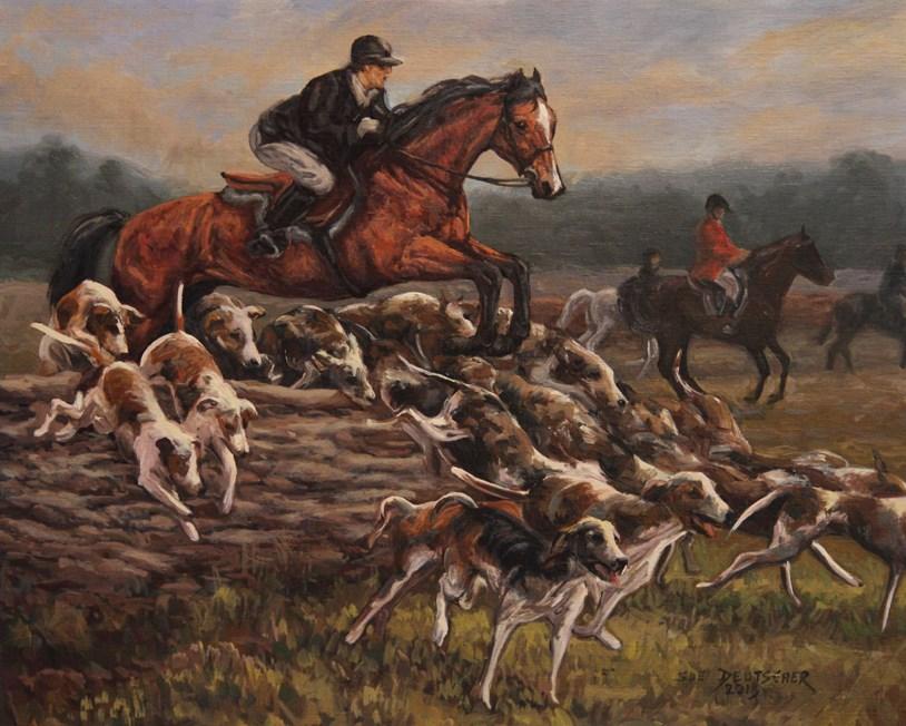 """""""Hunt Scene"""" original fine art by Sue Deutscher"""