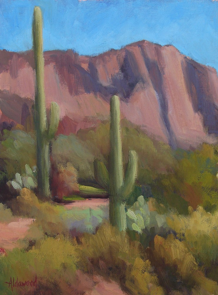 """Trail Between Two Saguaros"" original fine art by Sherri Aldawood"