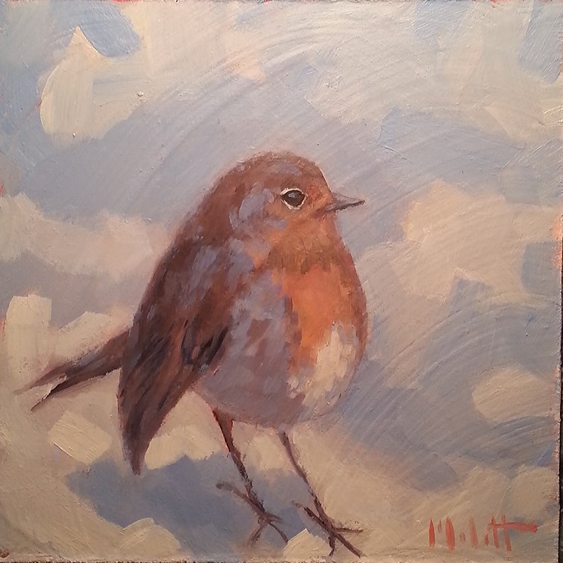"""Mama Bird Robin Oil Painting Daily Impressionism"" original fine art by Heidi Malott"