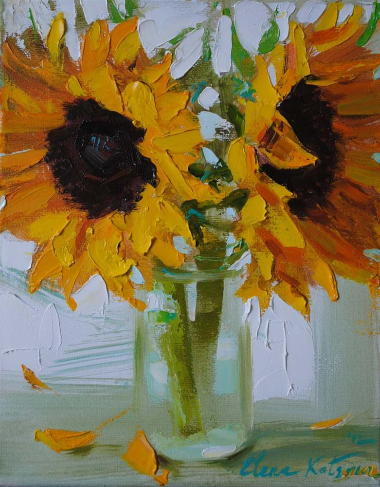 """Sunflowers in the Morning"" original fine art by Elena Katsyura"