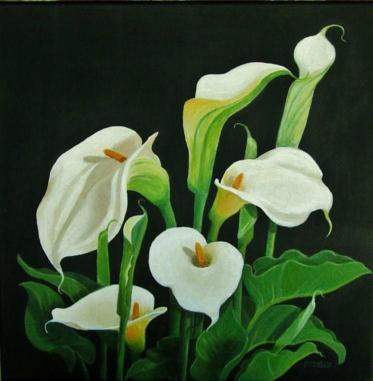 """""""Twirly whirly cala lilies"""" original fine art by Pratima Patel"""