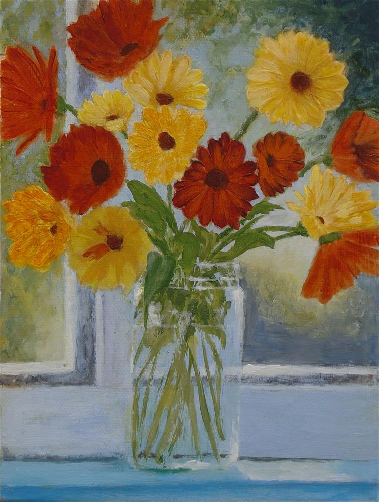"""flowers  on window sill"" original fine art by karen richardson"