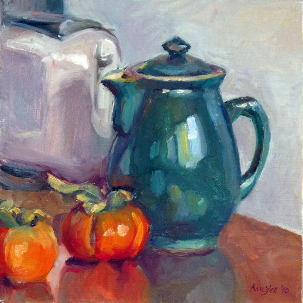 """Coffee pot with persimon 2"" original fine art by Myriam Kin-Yee"