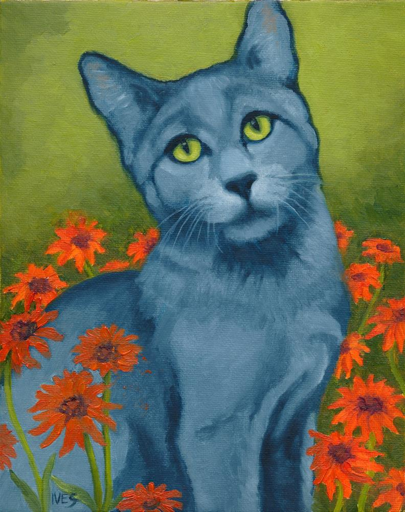 """Gray Cat and Flowers"" original fine art by Rk Ives"