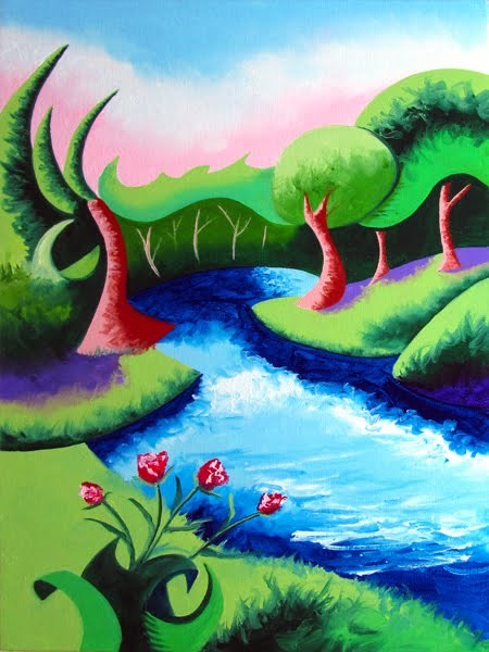 """Mark Webster - Abstract Geometric River Landscape Oil Painting 2012-04-18"" original fine art by Mark Webster"