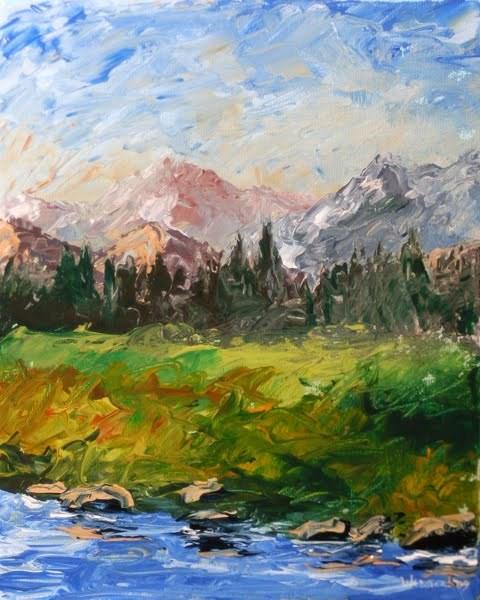 """""""Mountain River Impressionist Palette Knife Painting by Artist Mark Webster"""" original fine art by Mark Webster"""