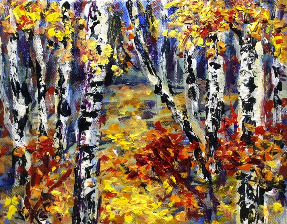 """Birches and Aspen Trees Painting"" original fine art by Sonia von Walter"