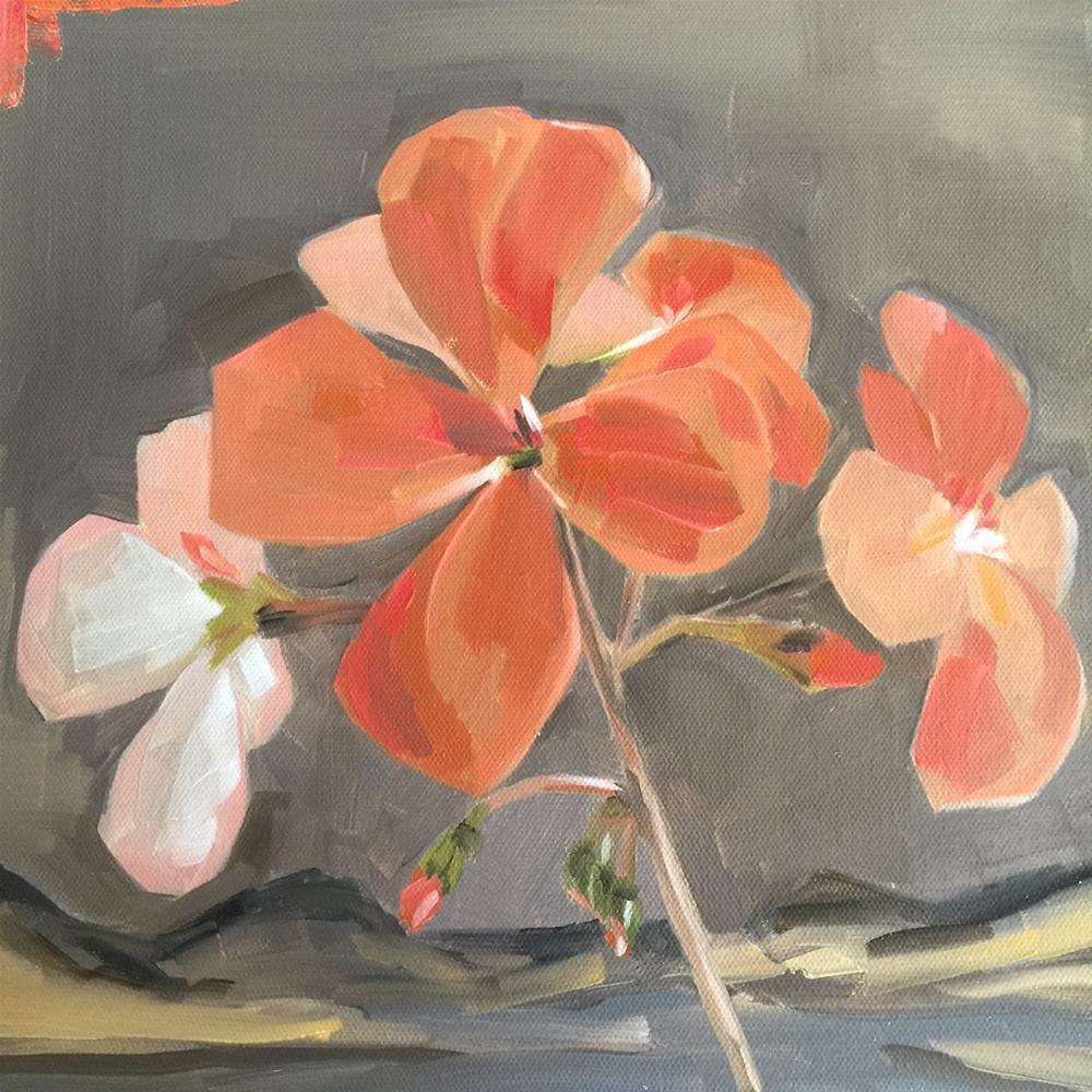 """291 Geraniums"" original fine art by Jenny Doh"
