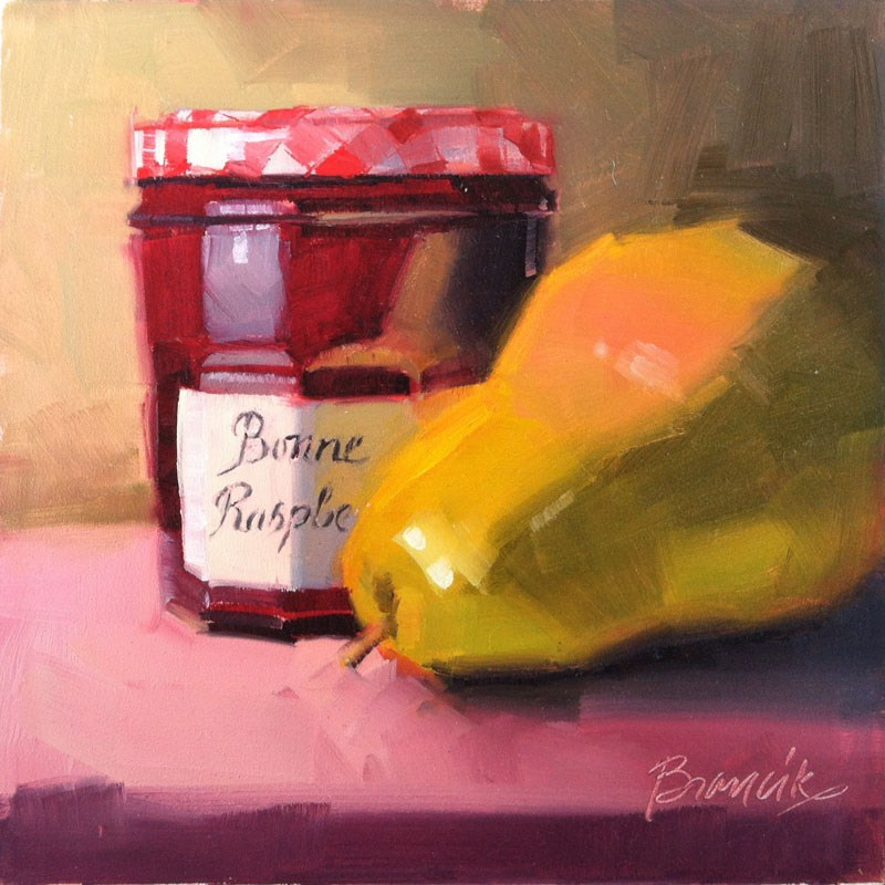 """Pear & Raspberry Jam"" original fine art by Candace Brancik"