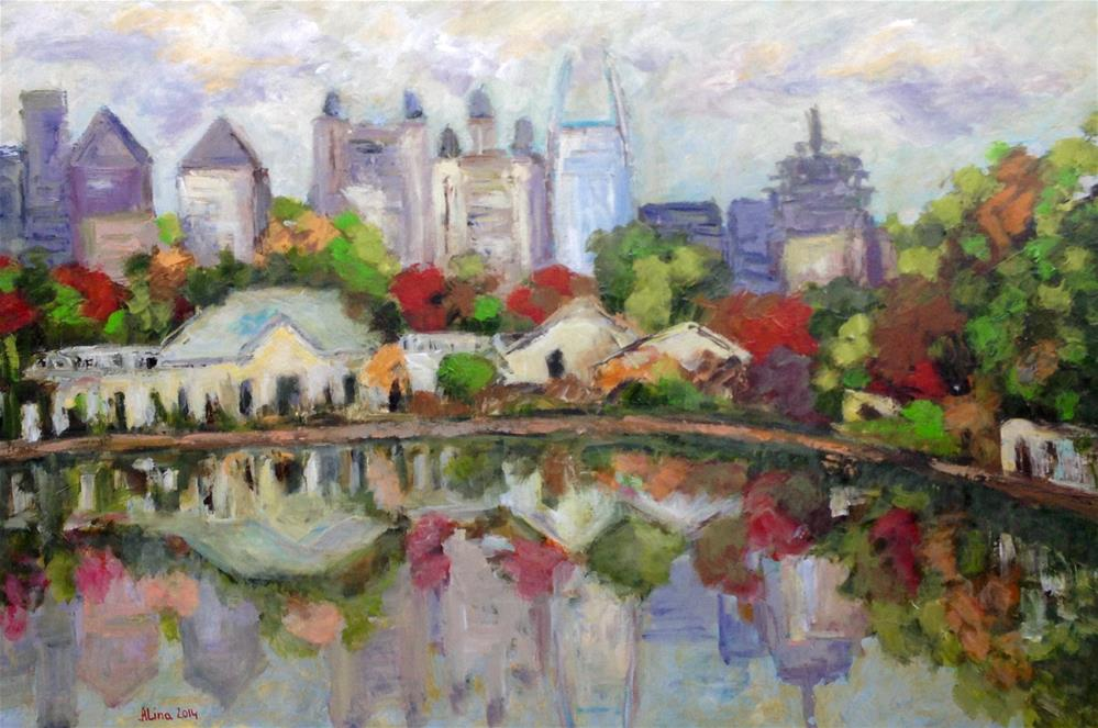"""Piedmont Park View"" original fine art by Alina Vidulescu"