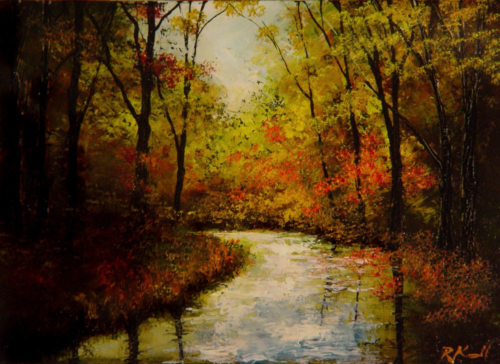"""Winding River in the Fall"" original fine art by Bob Kimball"
