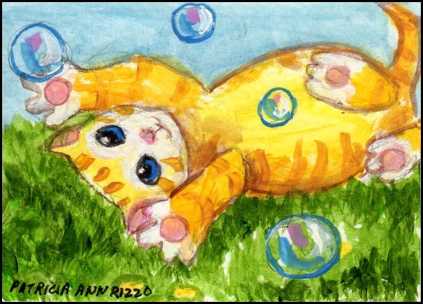 """Marmalade Kitty with Soap Buvvles"" original fine art by Patricia Ann Rizzo"