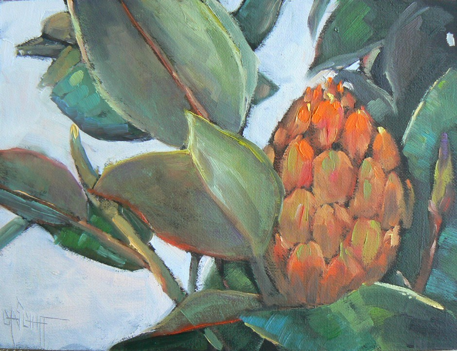 """Daily Painting, Southern Magnolia, 6x8, oil"" original fine art by Carol Schiff"