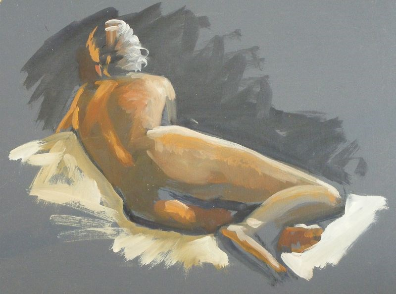 """Reclining nude sketch"" original fine art by Peter Orrock"