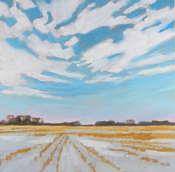 """Snow And Stubble"" original fine art by Nicki Ault"