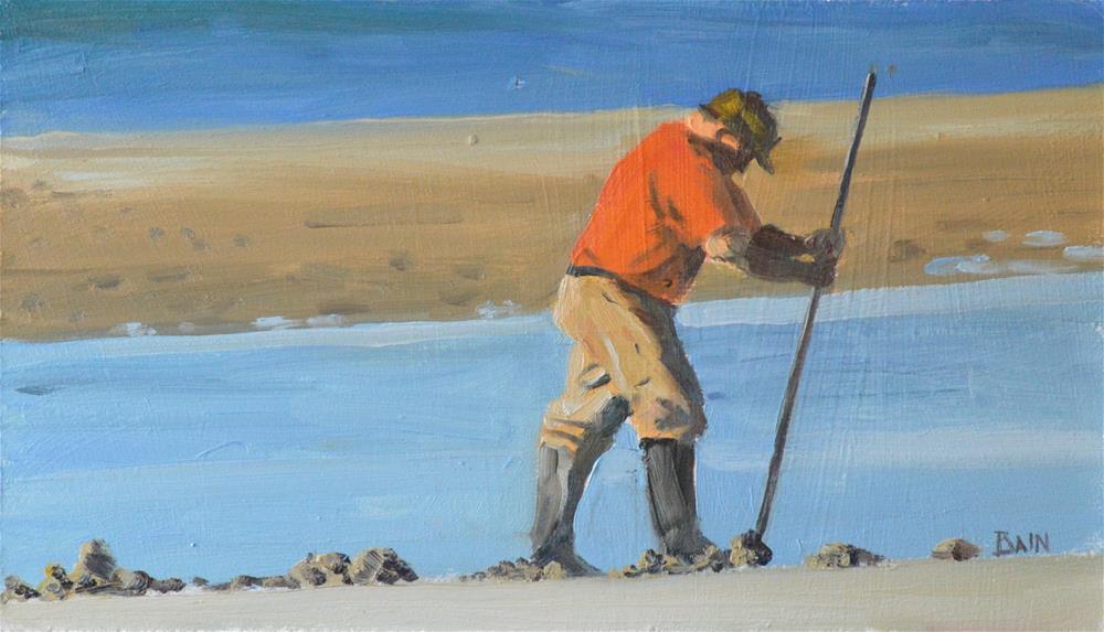 """Clamdigger #2"" original fine art by Peter Bain"