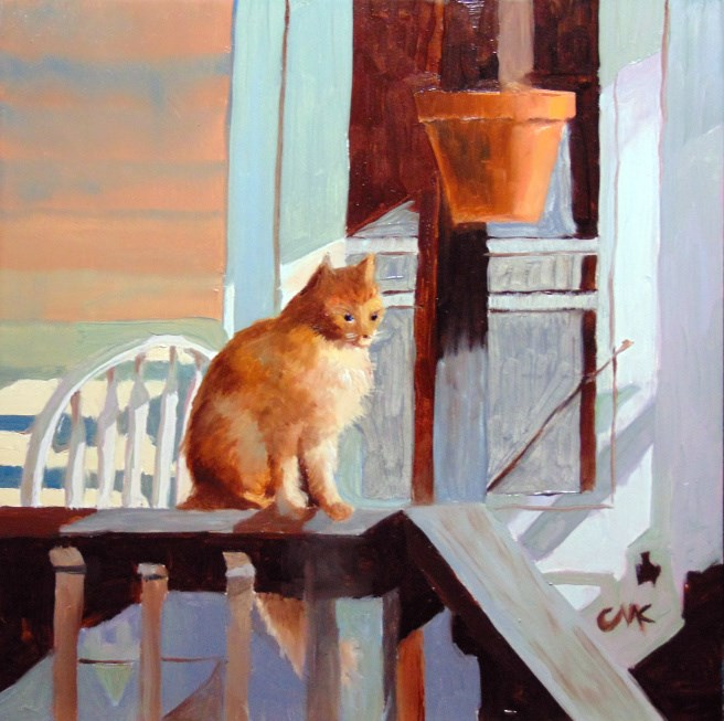 """Jack on the Porch"" original fine art by Catherine Kauffman"