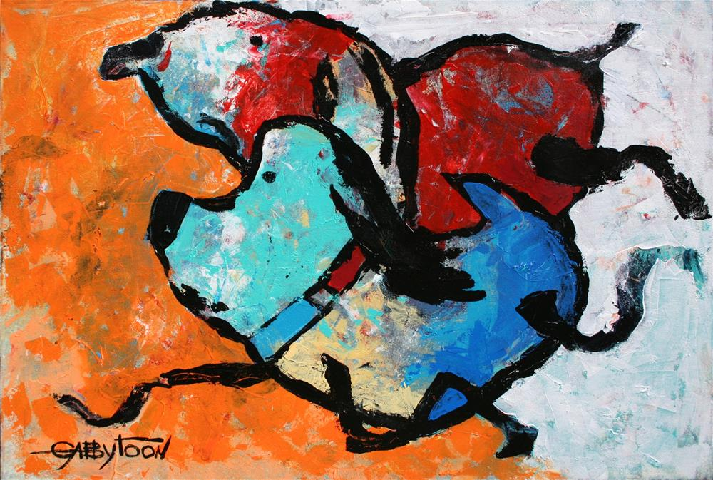 """Running Dogs"" original fine art by Gabriella DeLamater"