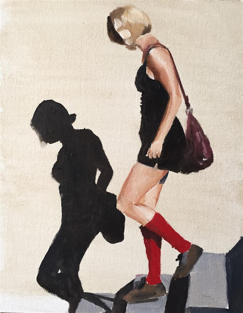 """""""Girl on Steps"""" original fine art by James Coates"""