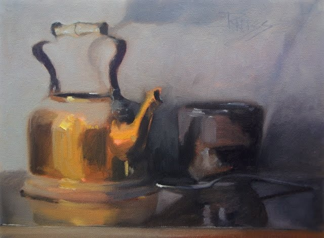 """Tea Kettle with Cup oil still life painting"" original fine art by Robin Weiss"