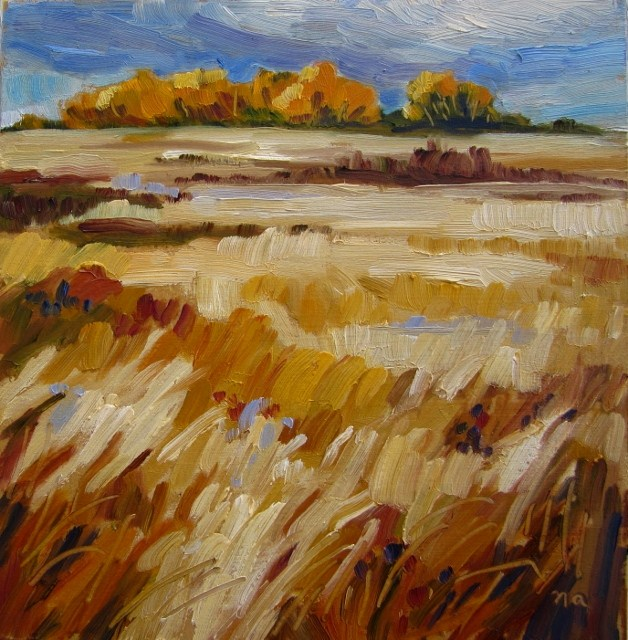 """Distant Wind Break"" original fine art by Nicki Ault"