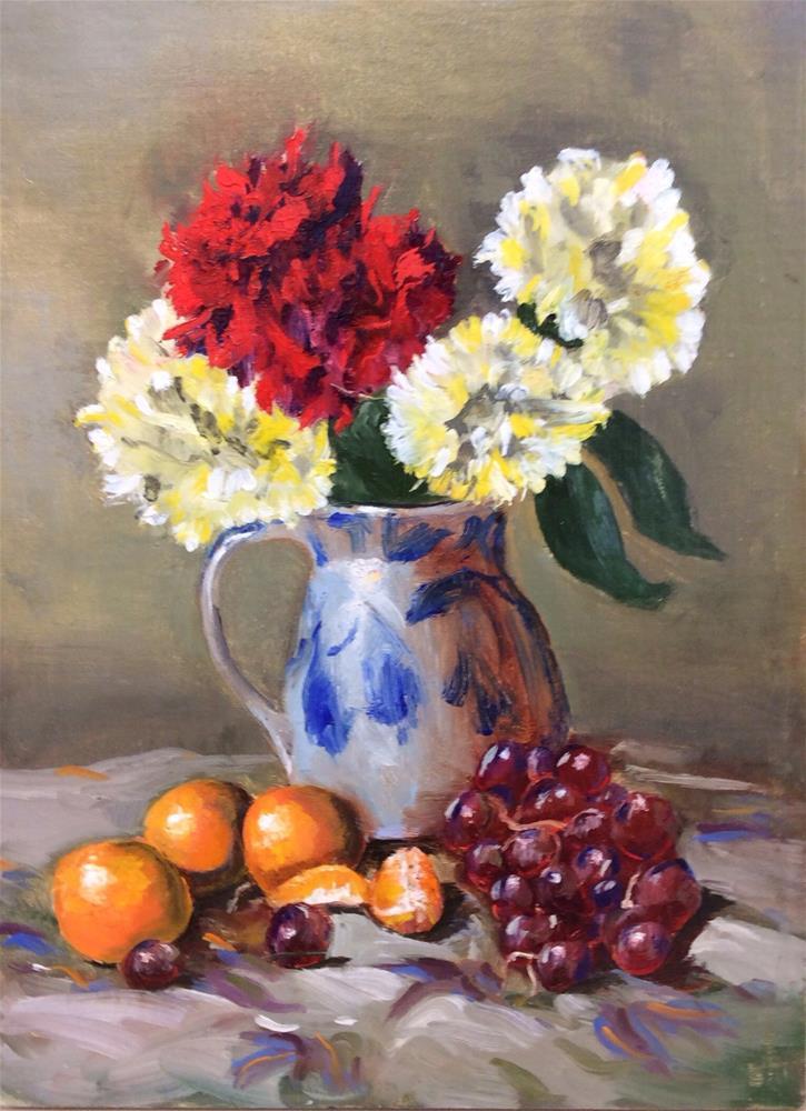 """Carnations in Salt Glazed Pot"" original fine art by Charlotte Lough"