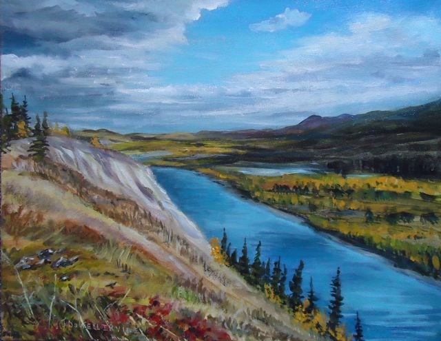 """Dena cho Trail from the Pelly River"" original fine art by Jackie Irvine"