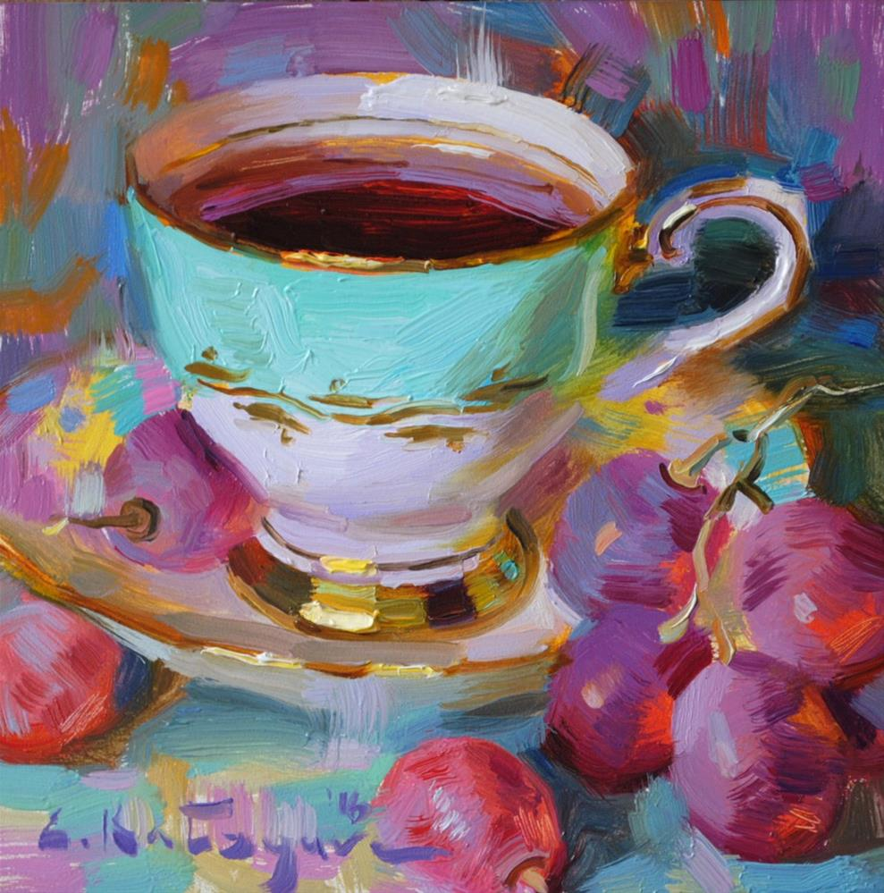 """Cup of Tea and Grapes"" original fine art by Elena Katsyura"