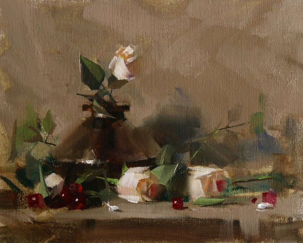 """Grapes and Roses"" original fine art by Qiang Huang"