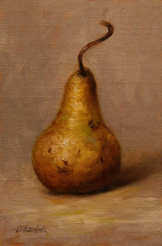 """Bosc  Pear,  Oil on 4x6 Linen Panel"" original fine art by Carolina Elizabeth"