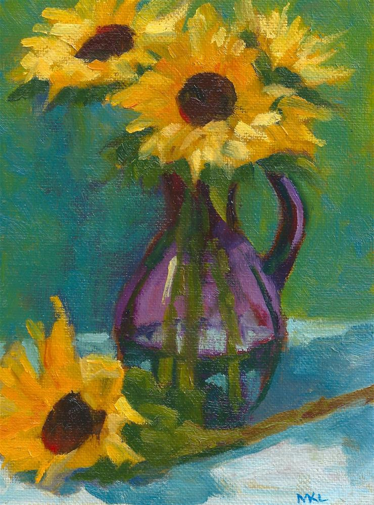 """Sunflowers in Purple Vase"" original fine art by Marlene Lee"