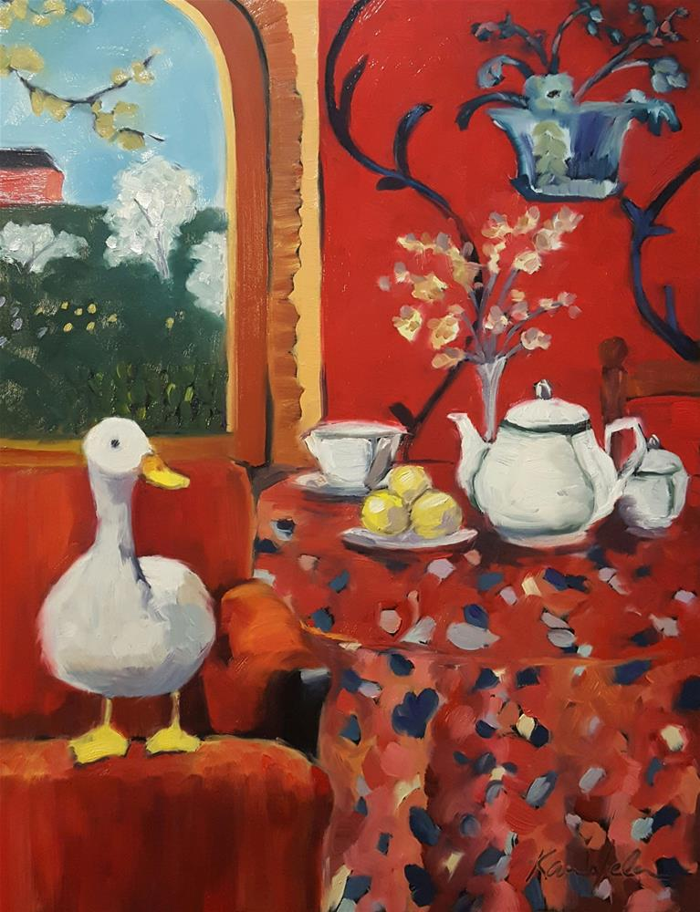 """The Duck : Harmony in red (The Red Chair)"" original fine art by Karen Weber"