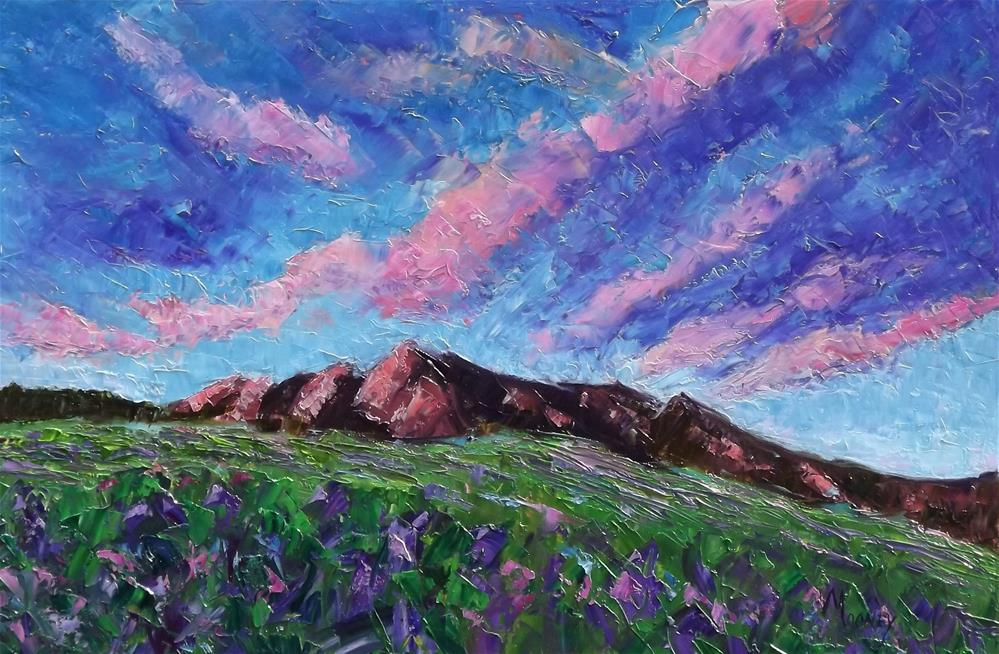 """Boulder Flatirons in Summer"" original fine art by Linda mooney"