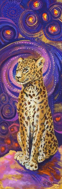 """Original Contemporary Colorful Wildlife Leopard Painting Leopard by Colorado Artist Nancee Jean Bu"" original fine art by Nancee Busse"