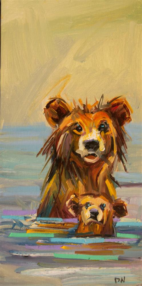 """Swim Bear"" original fine art by Diane Whitehead"