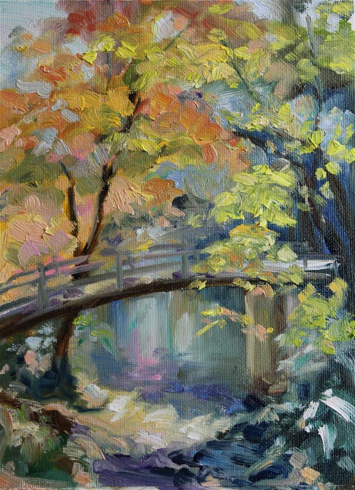 """Fall Bridge"" original fine art by H.F. Wallen"