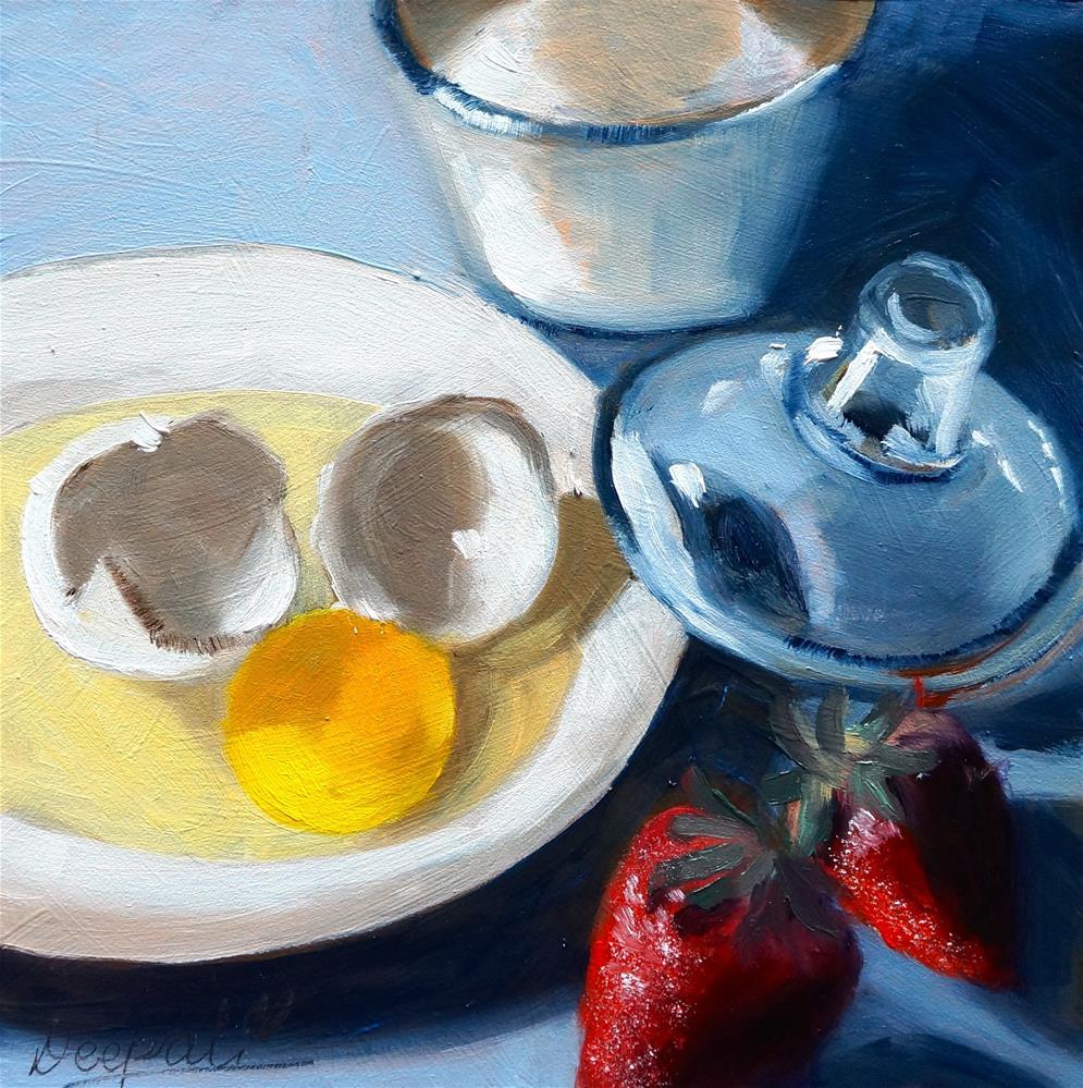 """Egg with Strawberries"" original fine art by Dipali Rabadiya"
