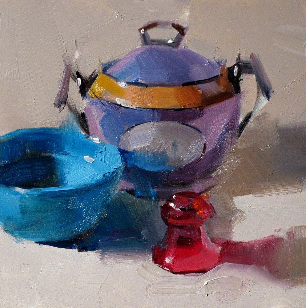 """Blue Purple and Red"" original fine art by Qiang Huang"