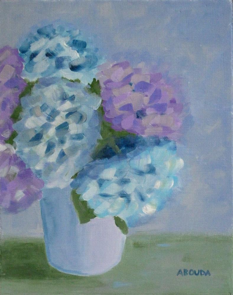 """Pastel Hydrangeas"" original fine art by Sandy Abouda"