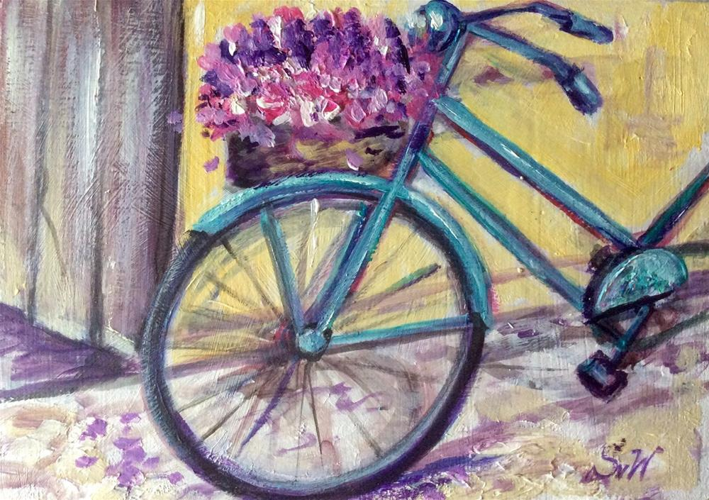 """Blue bicycle with flowers painting"" original fine art by Sonia von Walter"