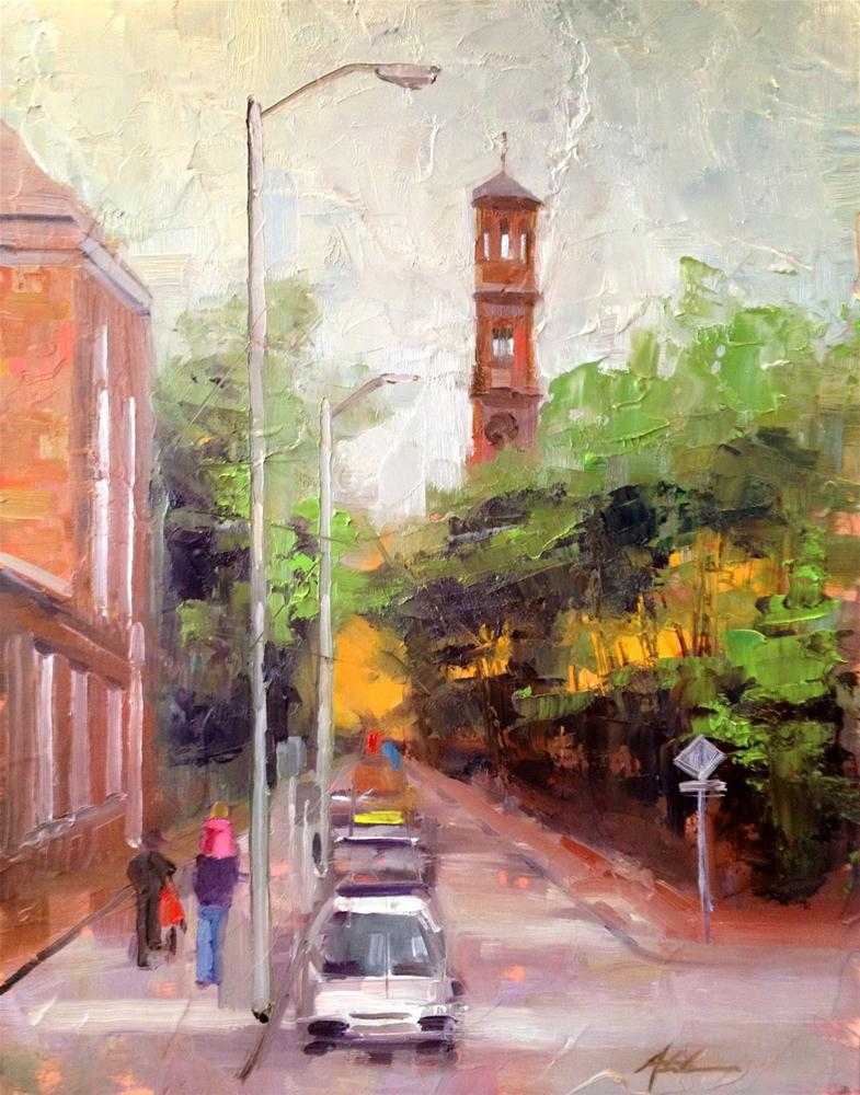 """Park the Car in Harvard Yard, 11x14"" original fine art by Ann Feldman"