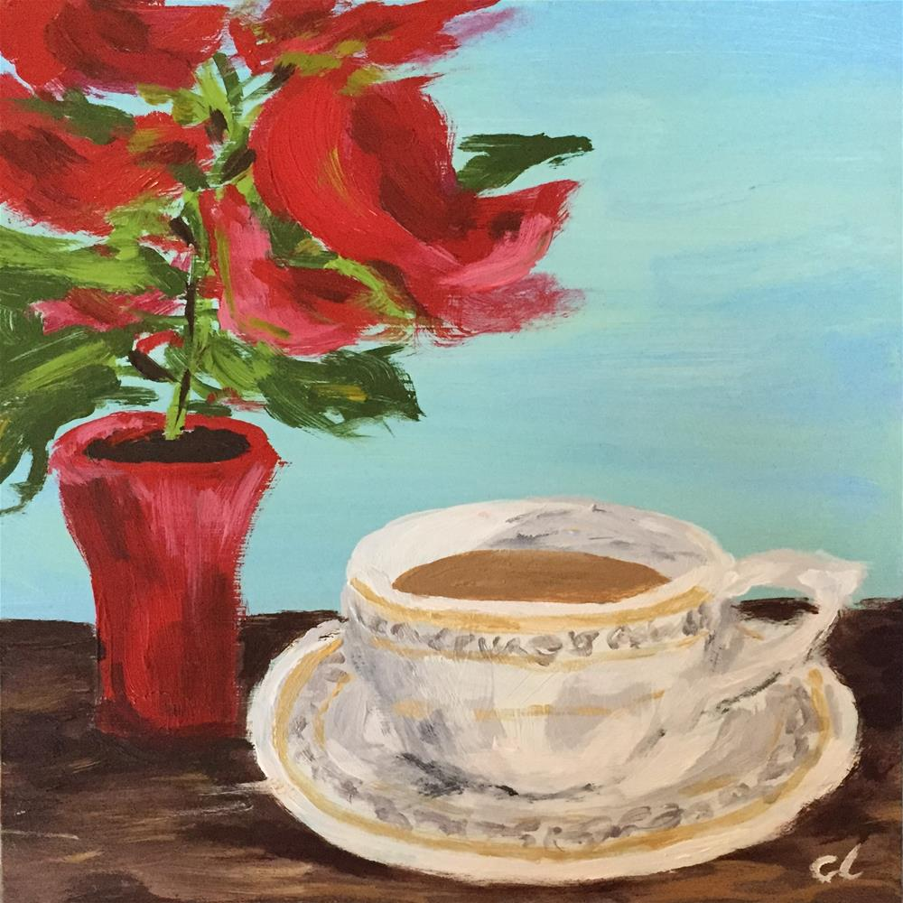 """Little Poinsettia and a cup of tea"" original fine art by Cheree Apalona Lueck"