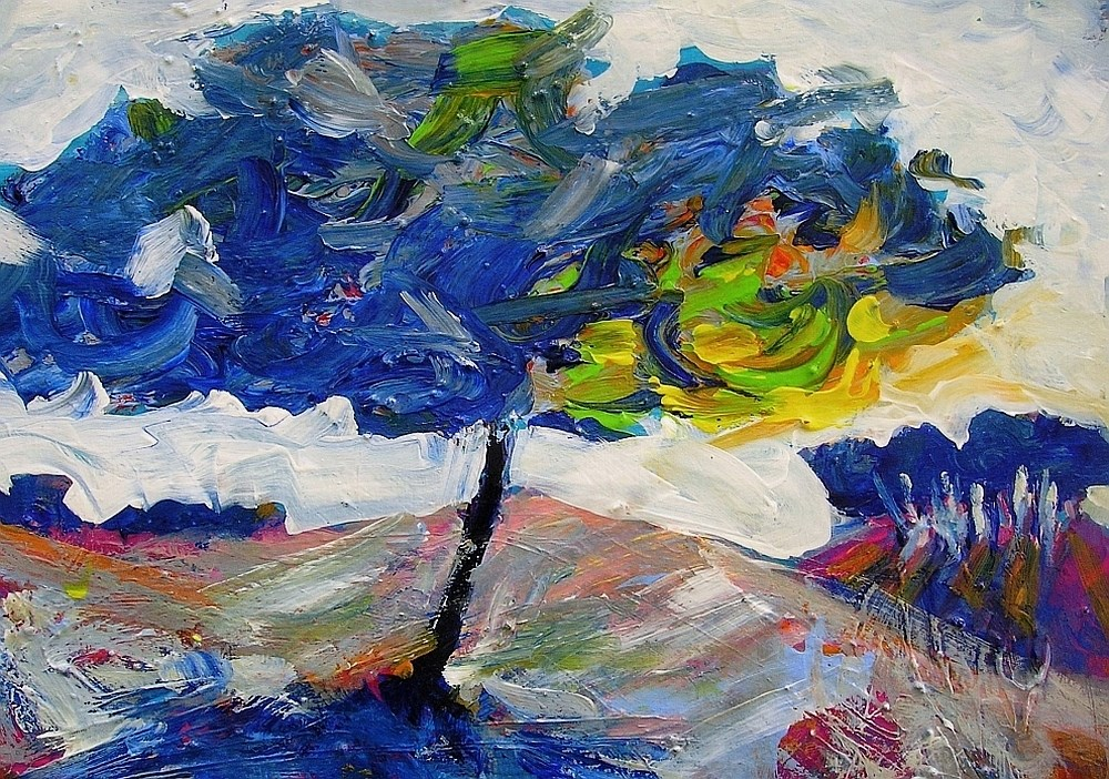 """Blue Tree"" original fine art by Mary Schiros"