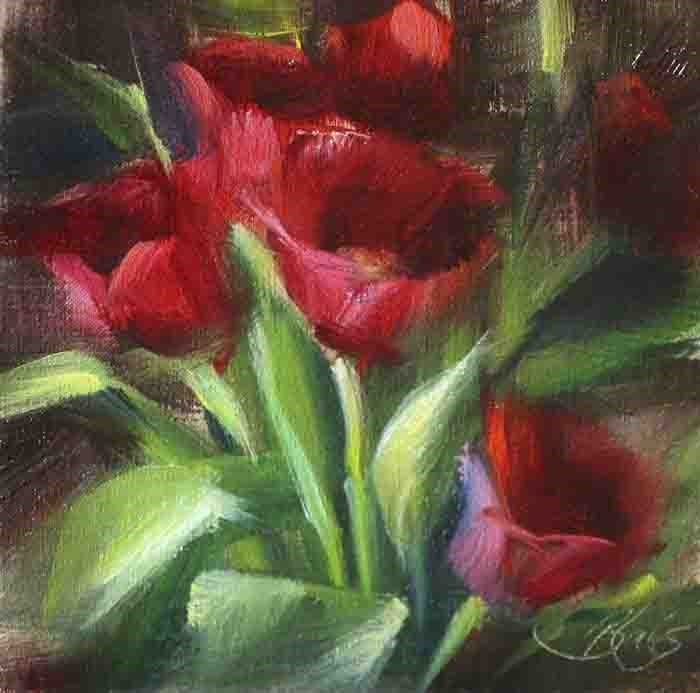"""Red Tulip Study"" original fine art by Pamela Blaies"